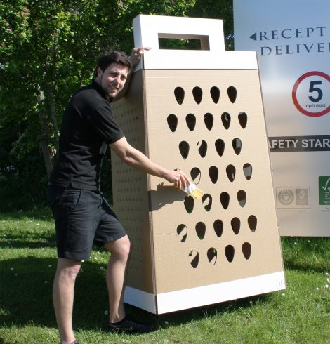 Giant Cardboard Cheese Grater for British Cheese Awards 2015