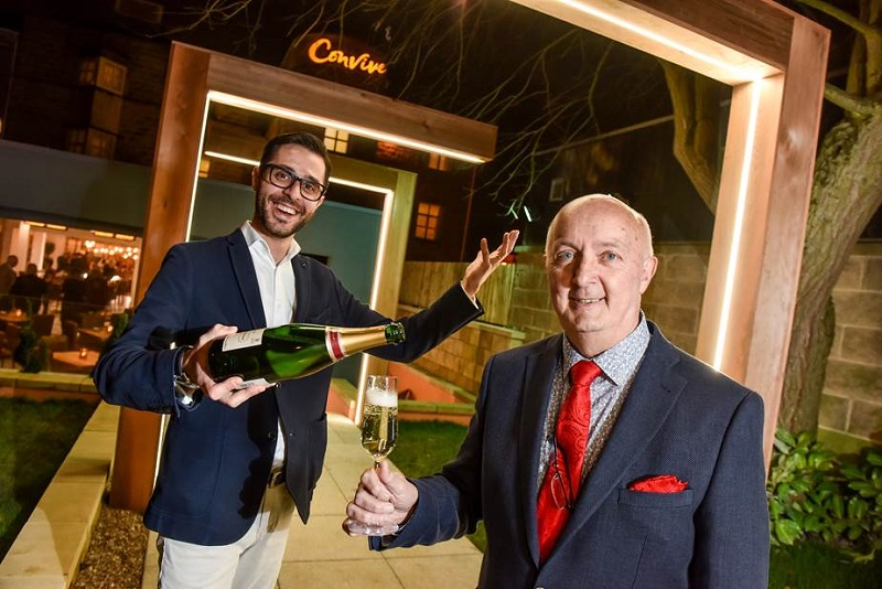 Restaurant manager Gio Conti with Martin Hicks, MD of Weetwood Hall and £2m new Mediterranean North Leeds restaurant, Convive