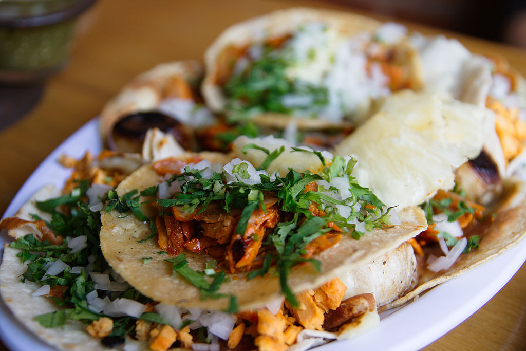 Credit: By William Neuheisel (Flickr: Tacos al Pastor) [CC BY 2.0 (http://creativecommons.org/licenses/by/2.0)], via Wikimedia Commons