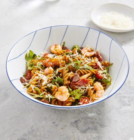 Tomato, Prawn & Chorizo Fusilli by Lorraine Pascale