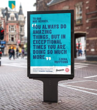 Positive signs: Brewgooder shares messages of thanks to NHS workers on giant billboards nationwide, after thousands of Brits donate beer to health workers