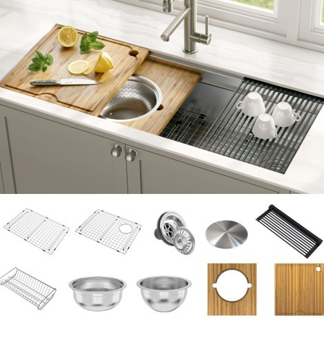 Make your kitchen sink area highly functional with accessories