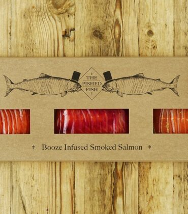The Pished Fish Champions 3-strong Christmas Selection Box of Booze-Infused Salmon for the Festive Season